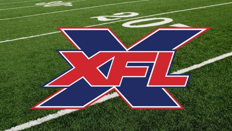 the xfl 2020 football logo shown on a football field