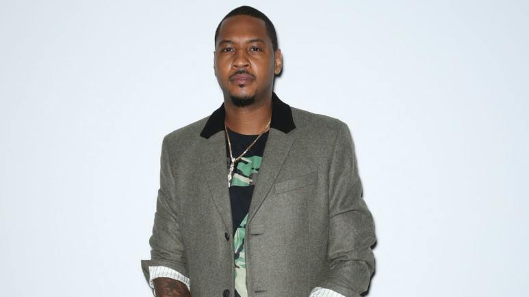 Carmelo Anthony at the launch of Melo Made Fashions in New York City