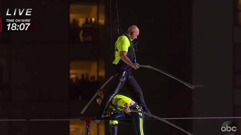 Siblings Nik and Lijana Wallenda did the stunt successfully last night. Pic credit: ABC