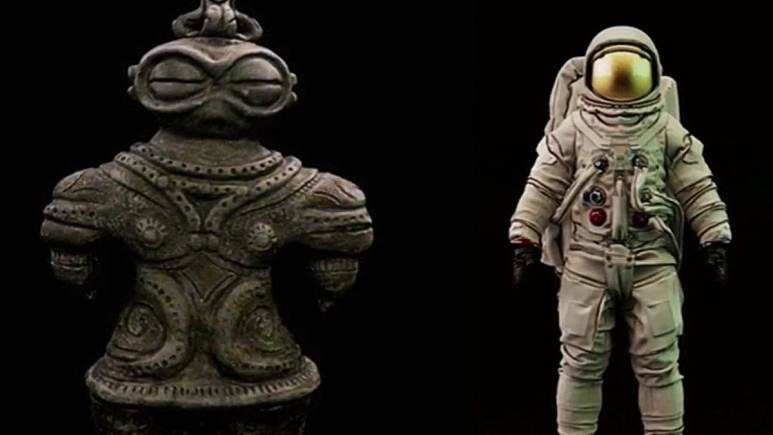 The Japanese Dogū looks like a spaceman, says Tsoukalos. Pic credit: History