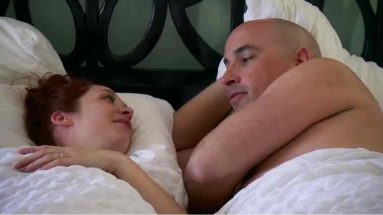 Beth and Jamie in bed on Married at First Sight