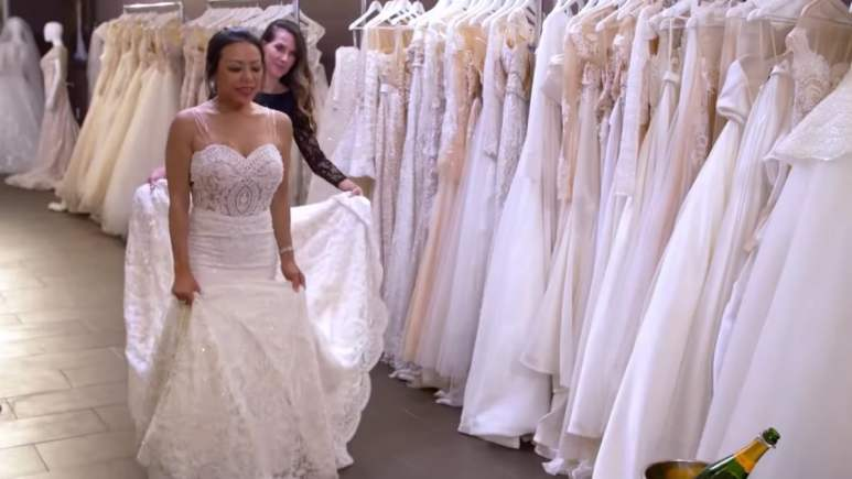 Gentille tries on her wedding dress on Marrying Millions