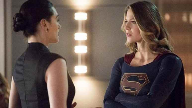 Katie McGrath as Lena Luthor and Melissa Benoist as Supergirl on Supergirl
