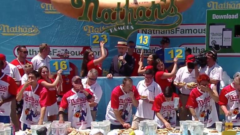 nathan's hot dog eating contest stage and crowd at coney island