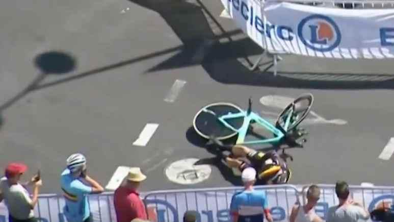 wout van aert after crashing with tt barrier at tour de france 2019