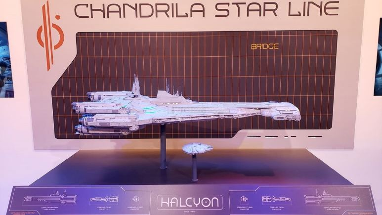 """Model of the Star Wars: Galactic Starcruiser """"Halcyon"""" at D23 Expo 2019. Pic credit: Michael Pao."""