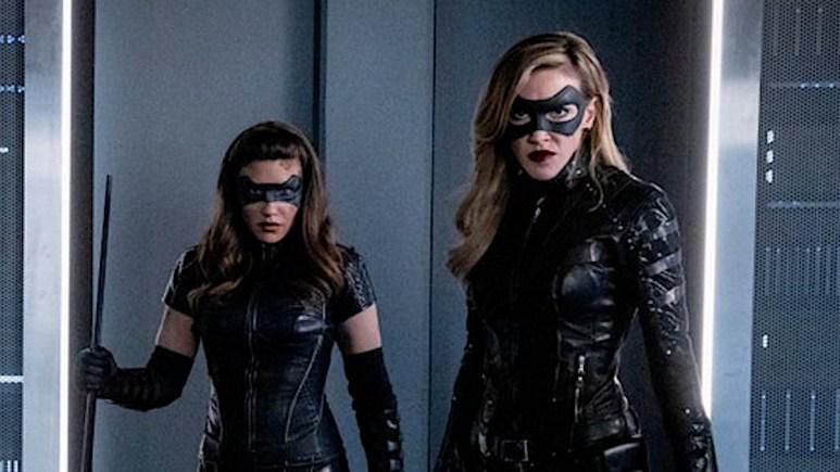 Juliana Harkavy as Dinah Drake/Black Canary and Katie Cassidy as Laurel Lance/Black Siren on Arrow