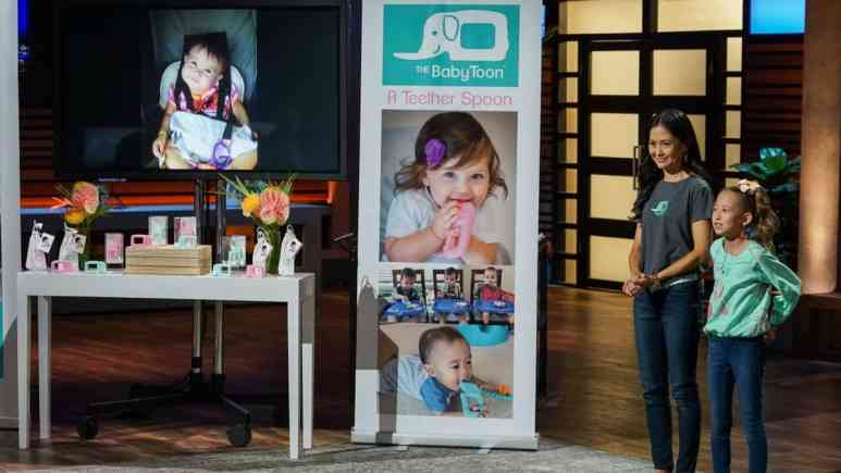 Kid entreprenuer Cassidy Crowley and her mom Lori Crowley present The Baby Toon on Shark Tank.