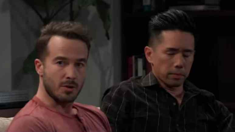 Ryan Carnes and Parry Shen as Lucas and Brad on General Hospital.
