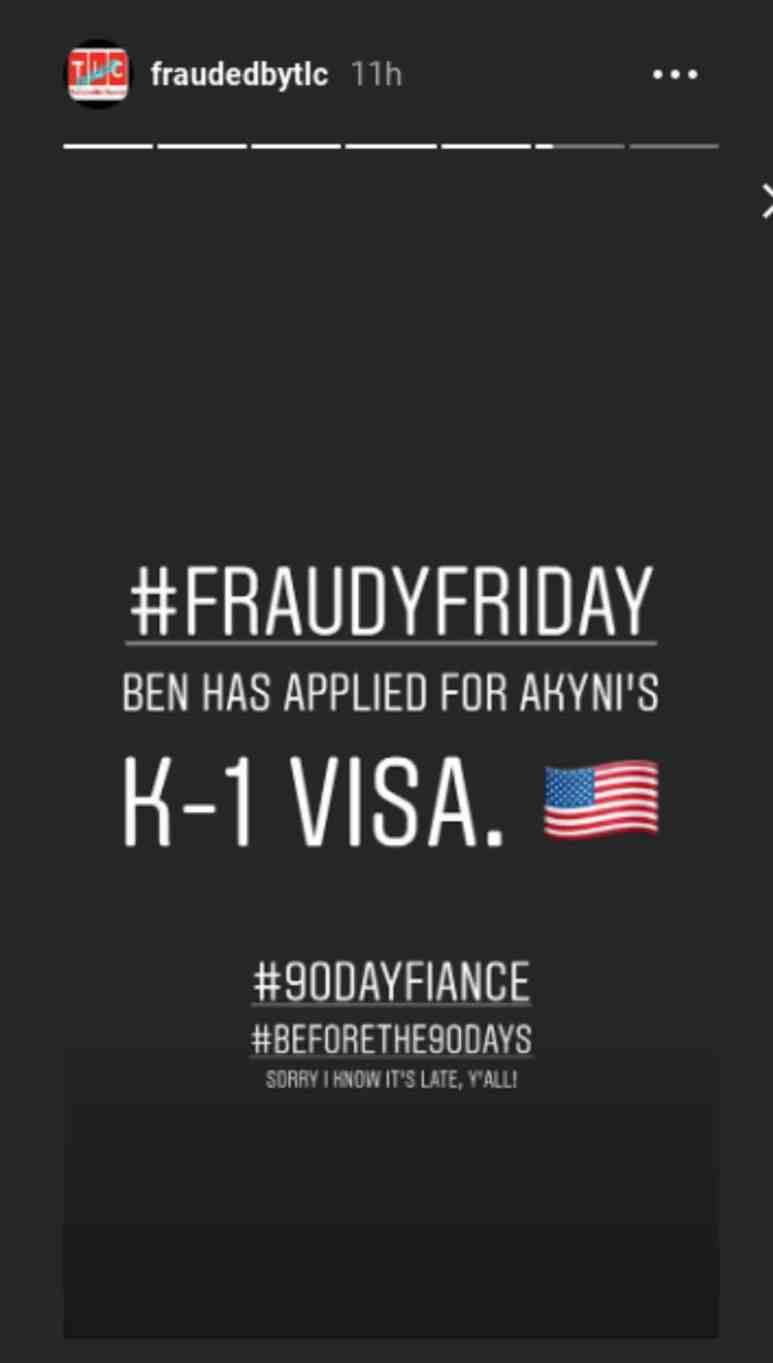 Claims that Benjamin Taylor has applied for Akinyi's K-1 Visa