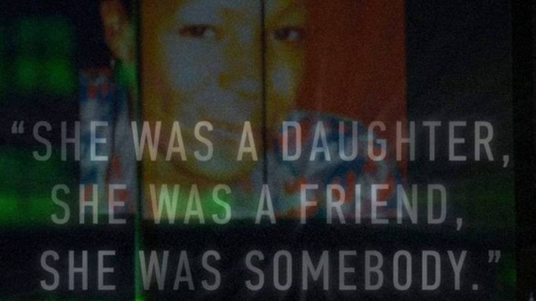 """Marlyn Allen before her death with text superimposed """"she was a daughter, she was a friend, she was somebody"""""""""""