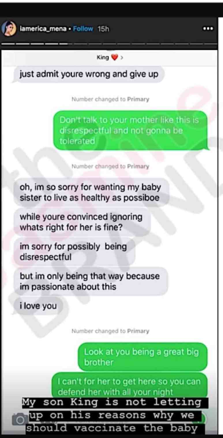 Text between Erica Mena and her son