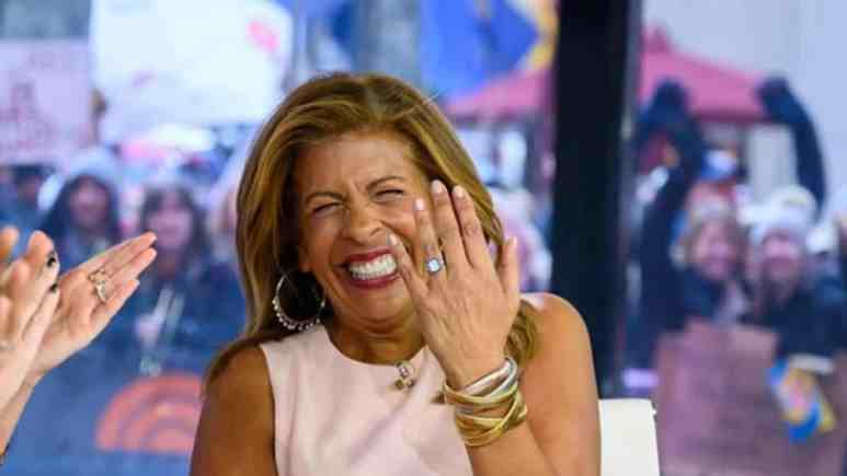 Hoda Kotb shows off her engagement ring on the Today program