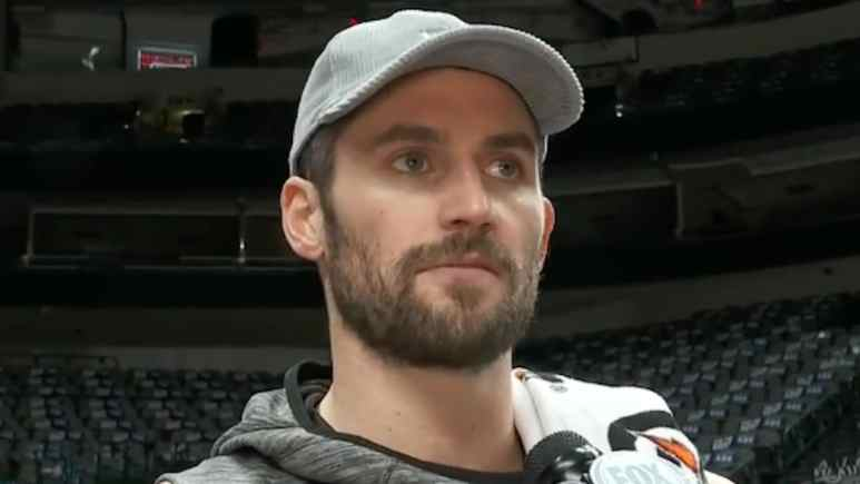 kevin love talks to the media in cleveland