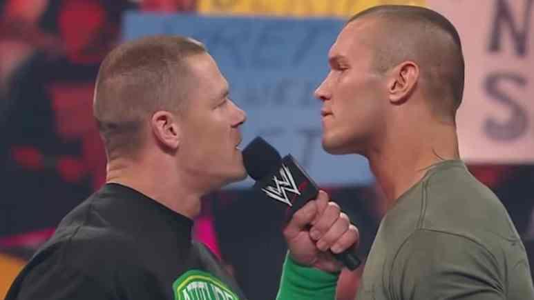 john cena faces randy orton in ring during wwe promo
