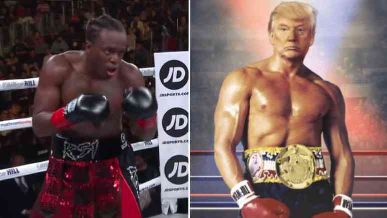 KSI celebrating after defeating Logan Paul, and Donald Trump's head photo-shopped on the body of Rocky Balboa