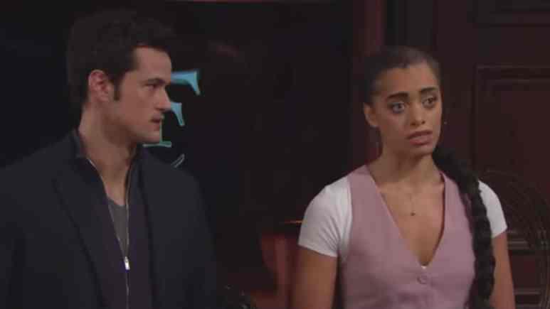Matthew Atkinson and Kiara Barnes as Thomas and Zoe on The Bold and the Beautiful.