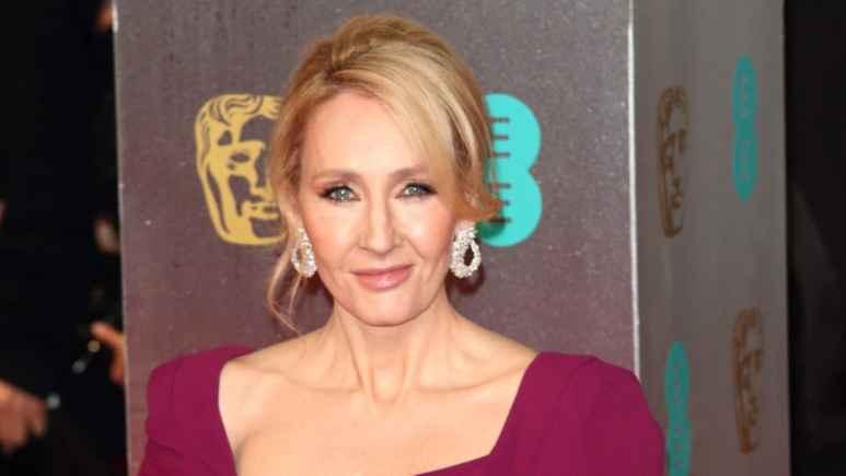 J.K. Rowling posing on the red carpet