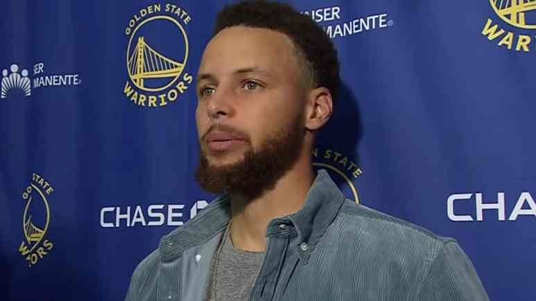 golden state warriors star stephen curry speaks to the media