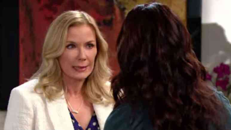 Katherine Kelly Lang and Rena Sofer as Brooke and Quinn on The Bold and the Beautiful.