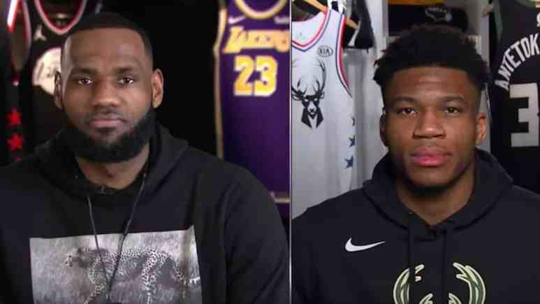 lebron james and giannis antetokounmpo as nba all star captains