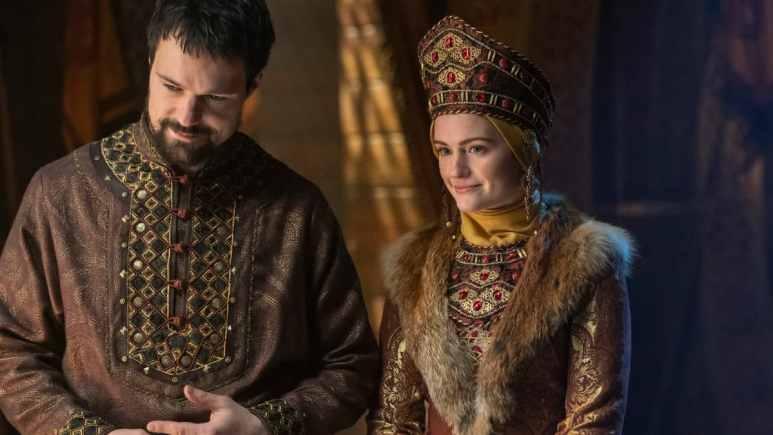Danila Kozlovsky as Prince Oleg and Alicia Agneson as Princess Katia