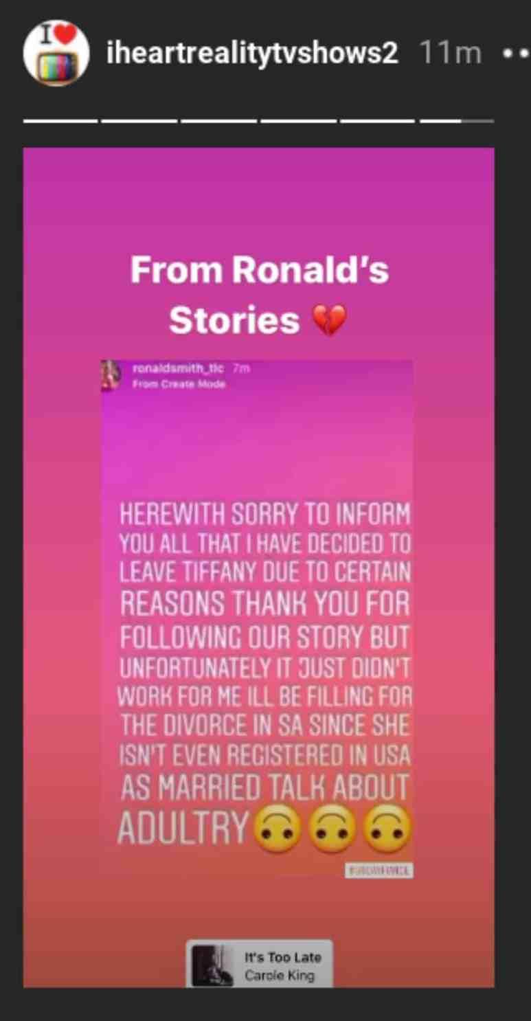 Ronald Smith accuses Tiffany Franco of adultery