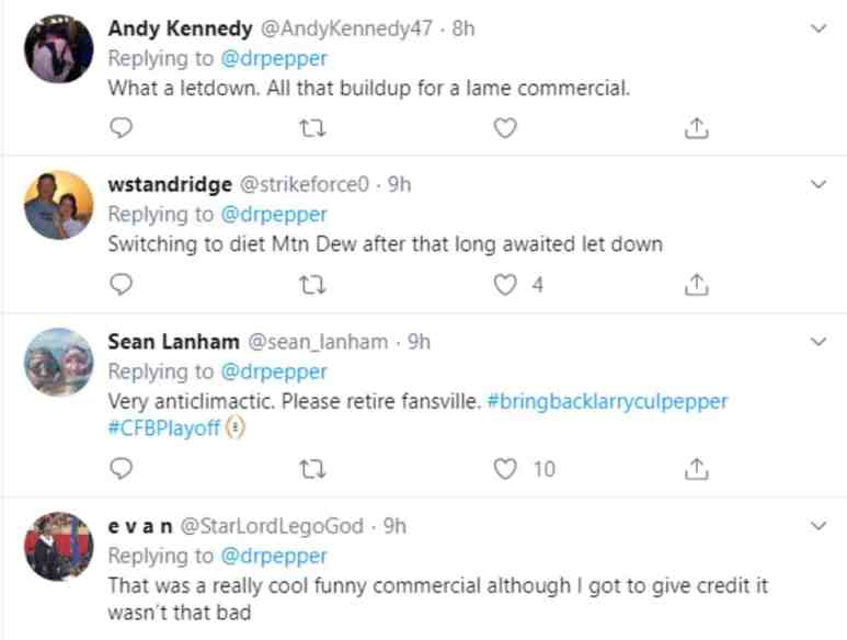 Big Fan viewers react to the Dr. Pepper commercial