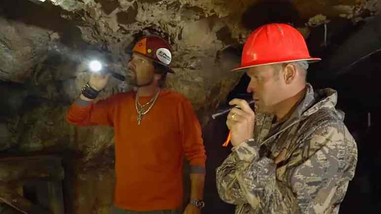 Kevin and Alex are neck deep in a mold infested silver mine and it's creepy footage to watch. Pic credit: Discovery