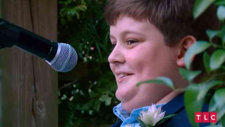 Michael's son Max gives a speech at the wedding