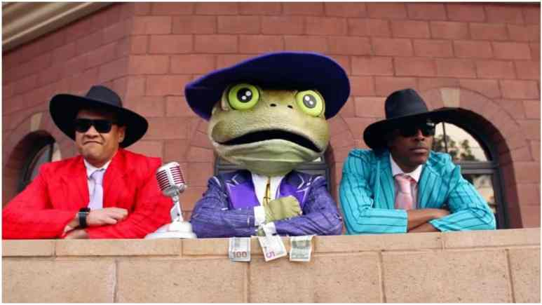 The Frog throws The Masked Singer panelists a bone. Pic credit: FOX