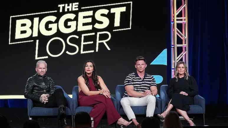 The Biggest Loser's Bob Harper, trainers Erica Lugo and Steve Cook, and USA executive Heather Olander at the Television Critics Association's 2020 winter press tour. Pic credit: USA/ TCA/ Evans Vestal Ward/NBCUniversal
