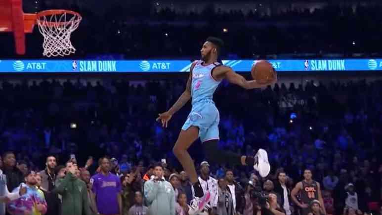 derrick jones jr in the nba slam dunk contest 2020