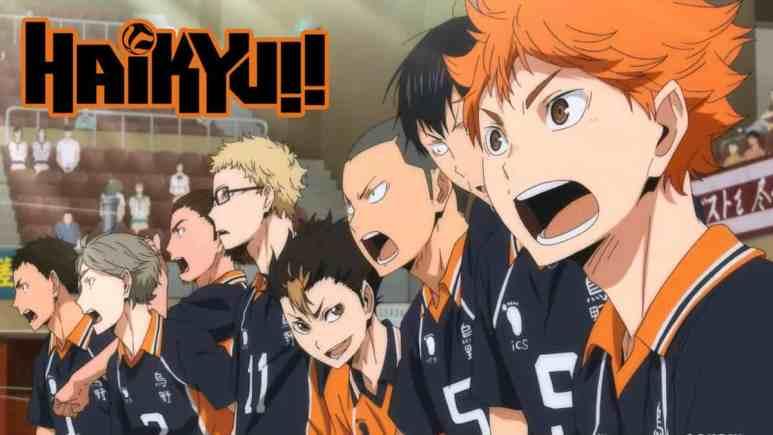 Team members shouting in the Haikyuu anime