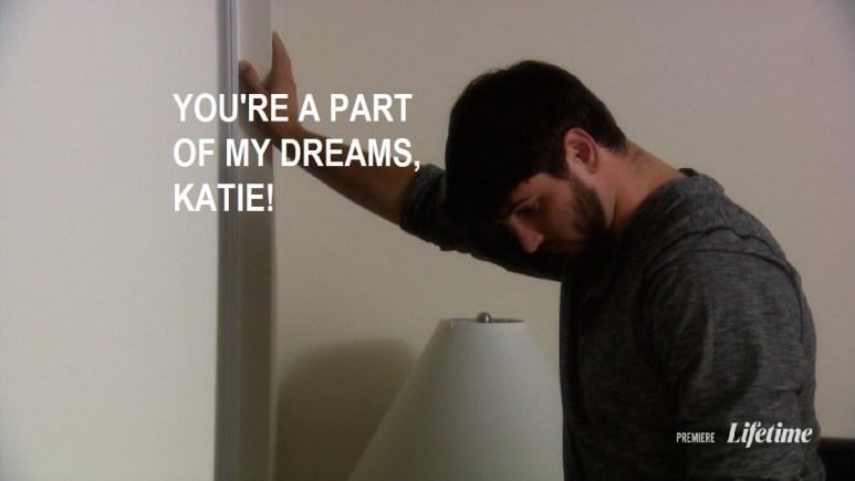 derek stands outside closed door and tells Katie he wants her in his dreams