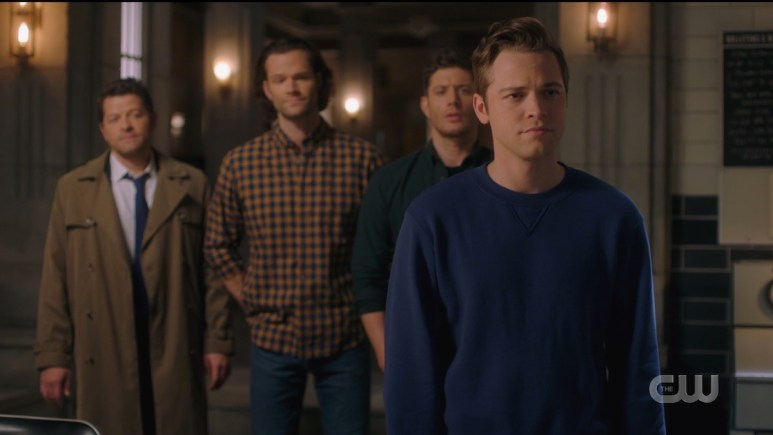 Cass (Misha Collins), Sam (Jared Padalecki), Dean (Jensen Ackles), and Jack (Alexander Calvert) say goodbye to Kaia. Pic credit: The CW