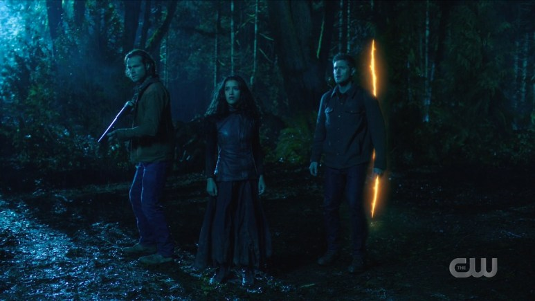 Sam (Jared Padalecki), Dean (Jensen Ackles), and Kaia (Yadira Guevara-Prip) return to the Bad Place. Pic credit: The CW
