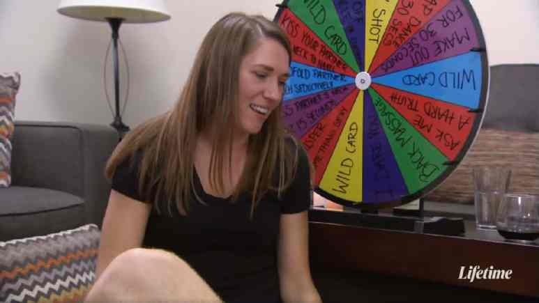 Married at First Sight couple Jessica and Austin play a game and spin a wheel together