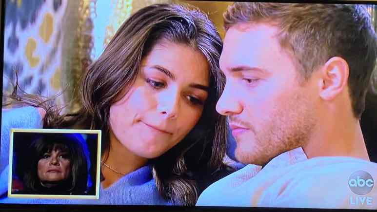 On Season 24 of The Bachelor, Peter and Hannah Ann talk while his mother's reactions are shown.