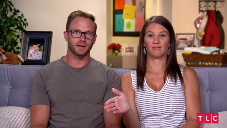 Adam and Danielle Busby in an OutDaughtered confessional.