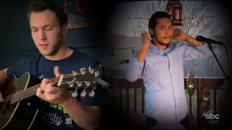 Phillip Phillips singing on the couch and Arthur Gunn getting ready to perform