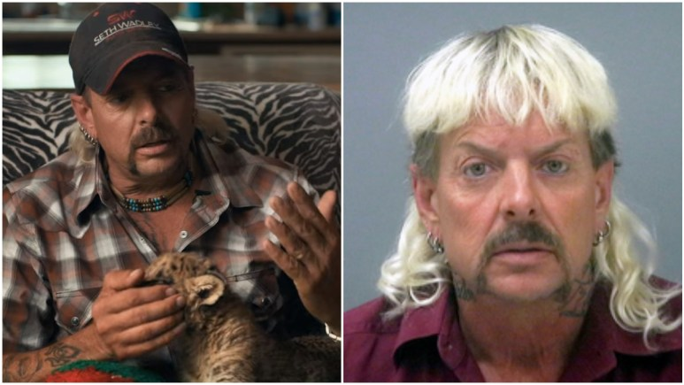 Joe Exotic on the set of Tiger King and his prison mugshot