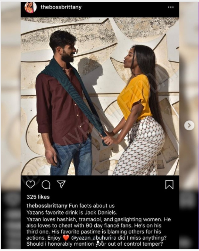 Brittany calls Yazan a cheater in IG post