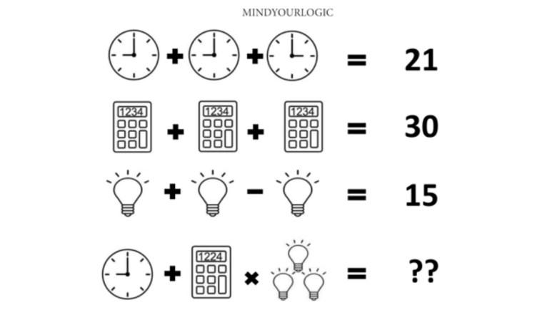 clock calculator bulb riddle
