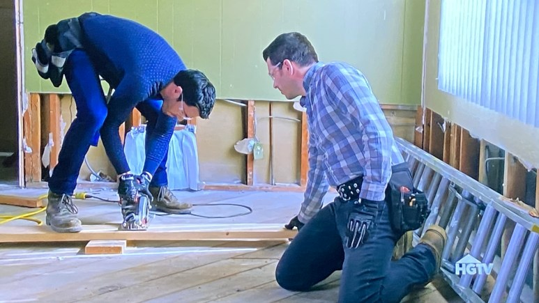 On Property Brothers Forever Home, Drew and Jonathan Scott go to work on the floor of a project house.