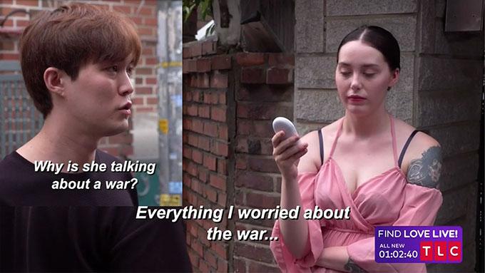 90 Day Fiance couple Deavan and Jihoon using a translator device to talk