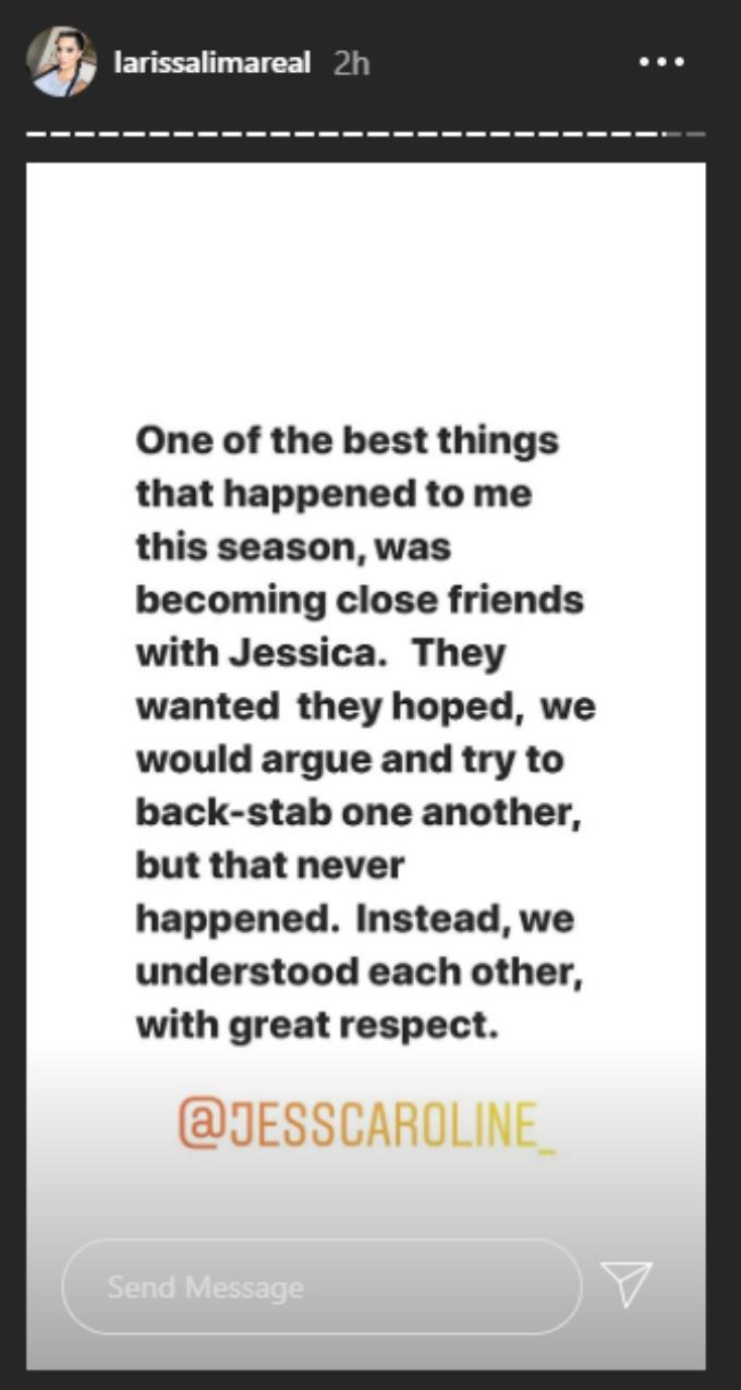 Larissa's post about Jess. Pic Credit: @larissalimareal / Instagram
