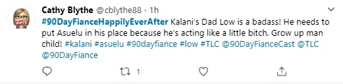 User commends Kalani's dad