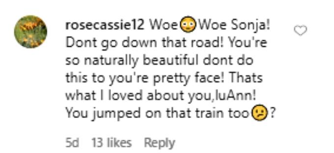 Fan tells Sonja not to go down that road