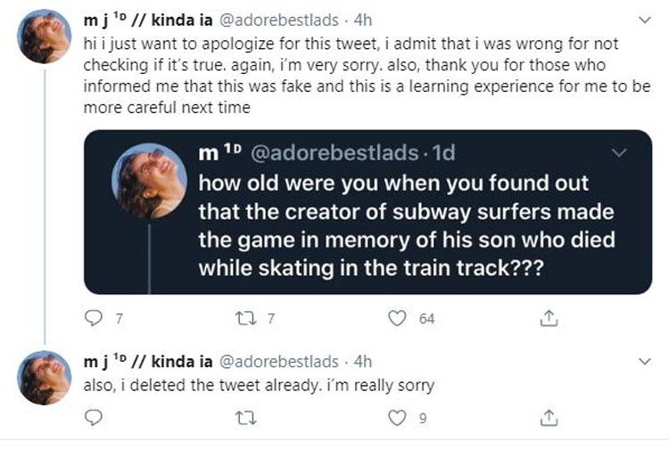Subway Surfers tweet